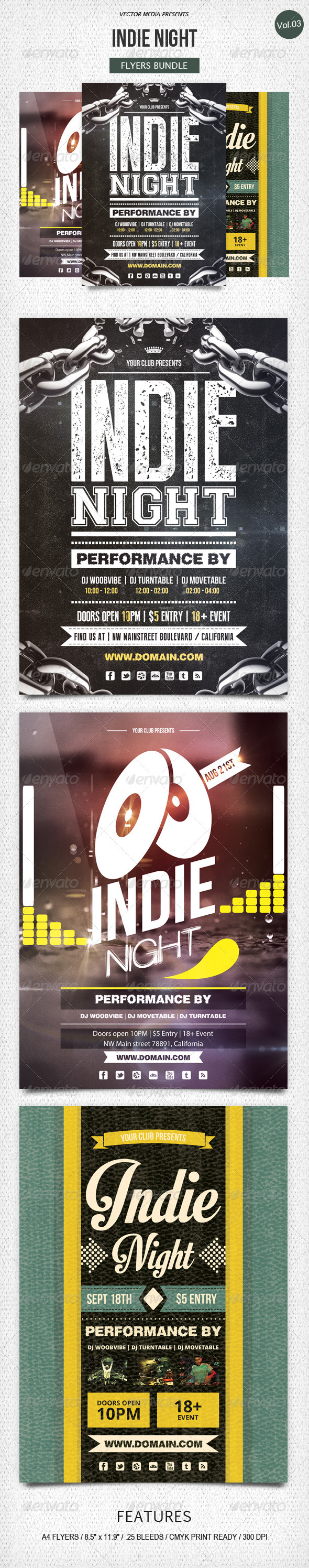 GraphicRiver Indie Night Flyers Bundle [Vol.3] 5500633