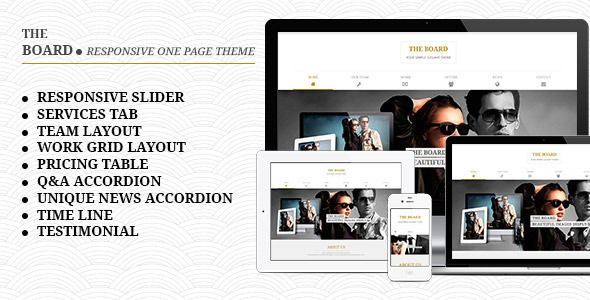 The Board - Responsive One Page Template  - Portfolio Creative