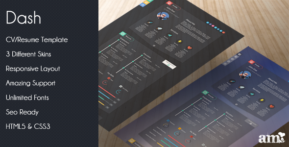 Dash - Modern Resume vCard HTML Template - Virtual Business Card Personal