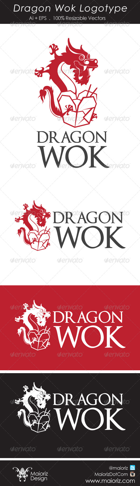 Dragon Wok Logotype - Food Logo Templates