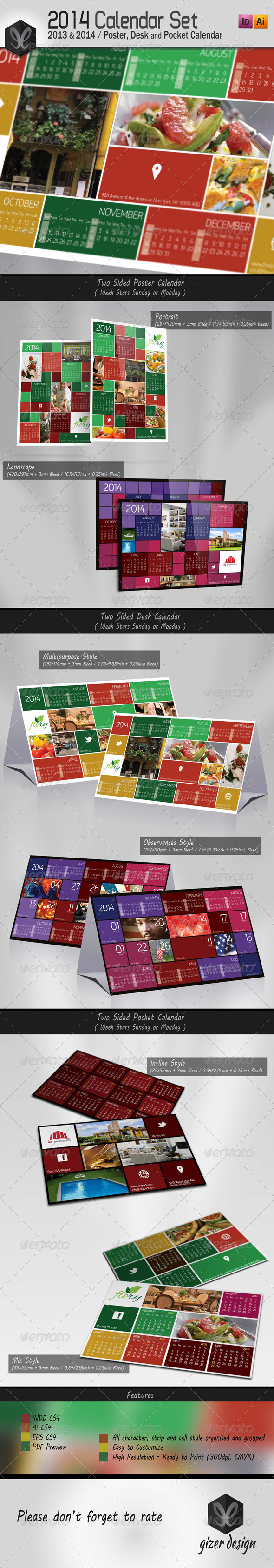 2014 Calendar Set Kare - Calendars Stationery