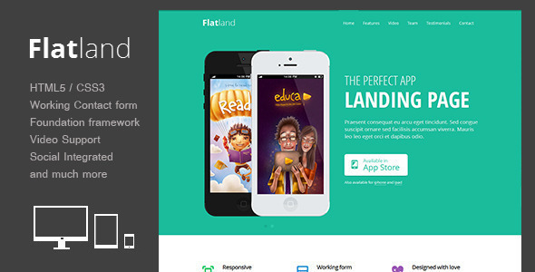 Flatland responsive html5 app landing page by theme for Wordpress splash page template