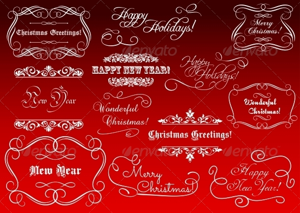 GraphicRiver Calligraphic Elements for Christmas Holidays 5503254