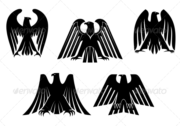 GraphicRiver Silhouettes of Eagles 5503268