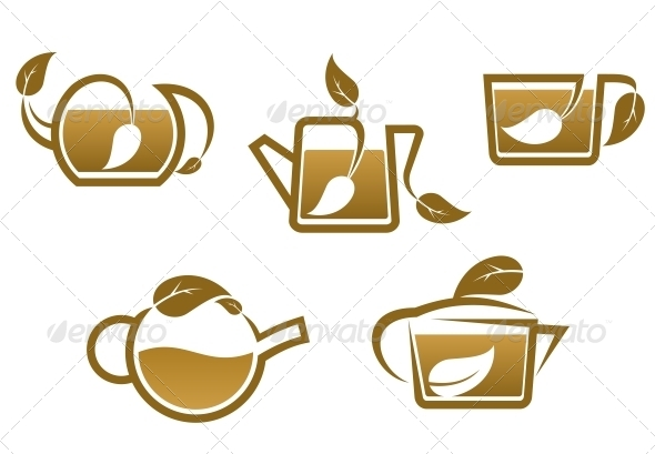 GraphicRiver Herbal Tea Symbols and Icons 5503313