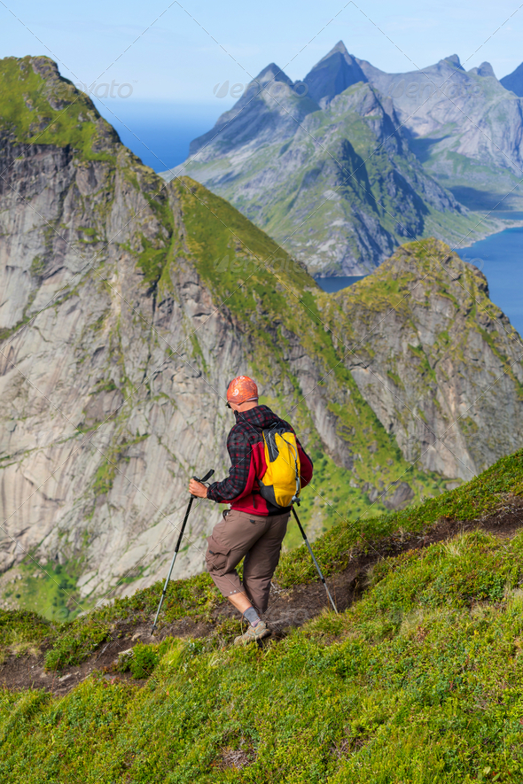Hike in Lofoten - Stock Photo - Images