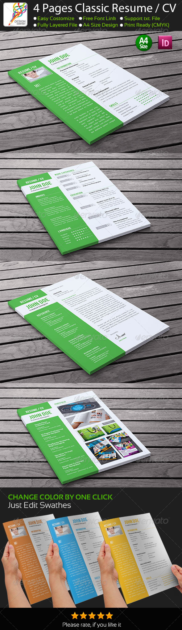 GraphicRiver 4 Pages Classic InDesign Resume 5504897