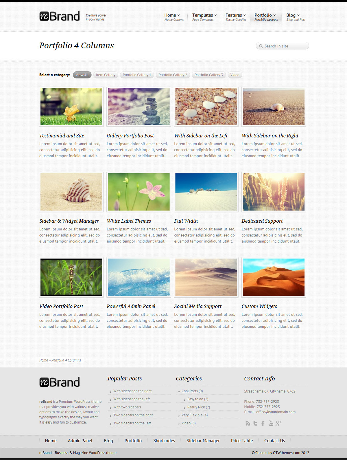 ReBrand - Business and Magazine WordPress Theme - Portfolio example - 4 columns, light version, squares background