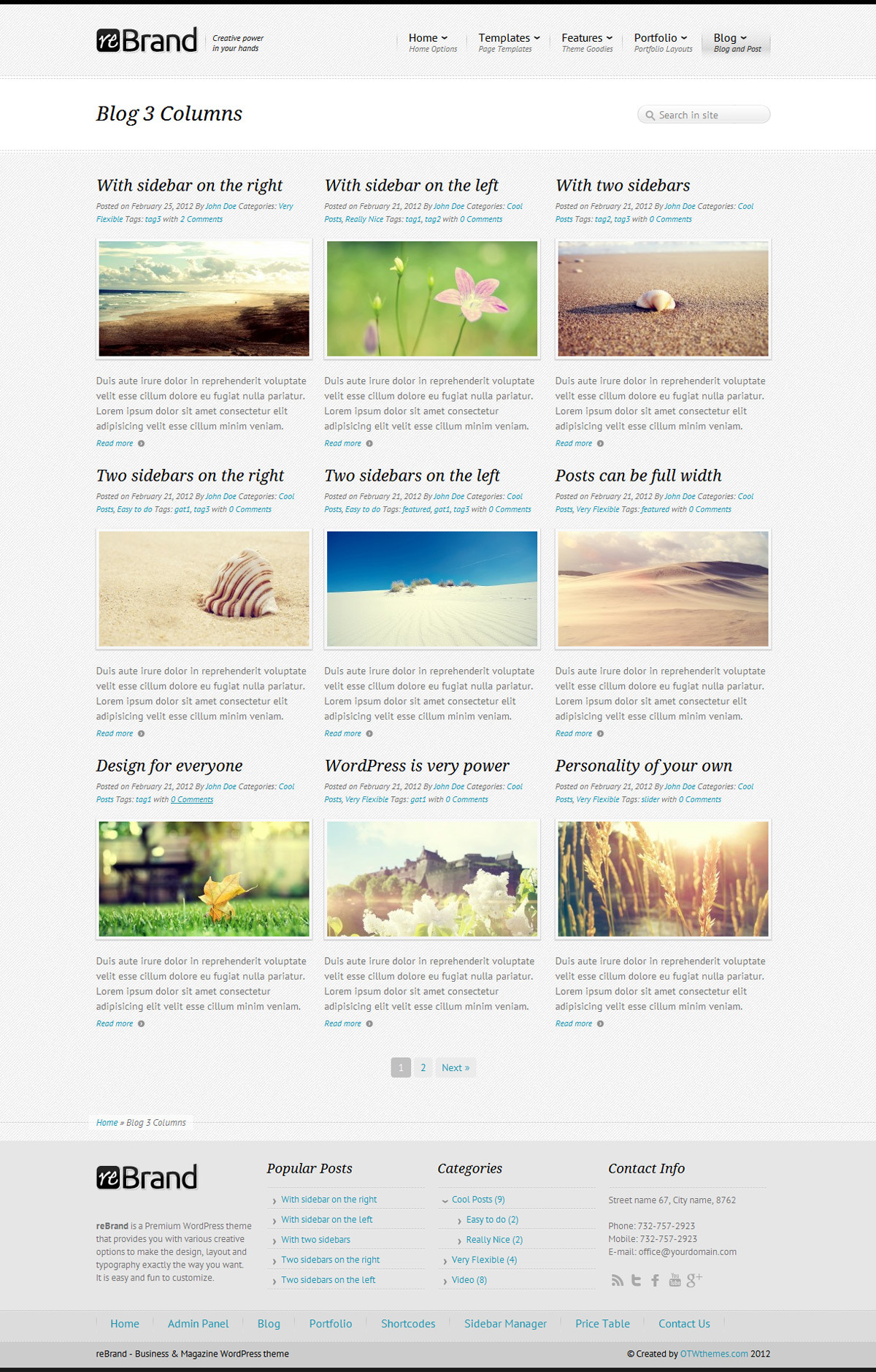 ReBrand - Business and Magazine WordPress Theme - Blog example - 3 columns, light version, diagonal background, blue active color