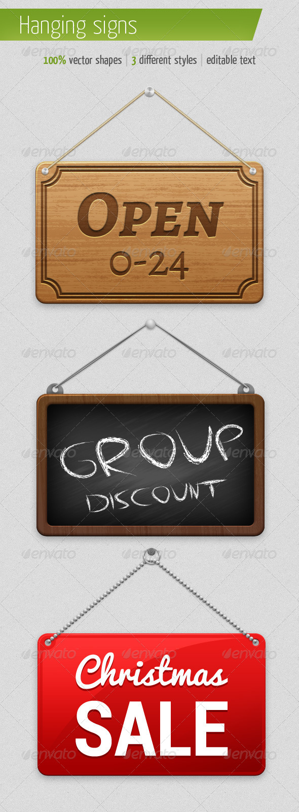 GraphicRiver 3 Different Hanging Signs 5505308