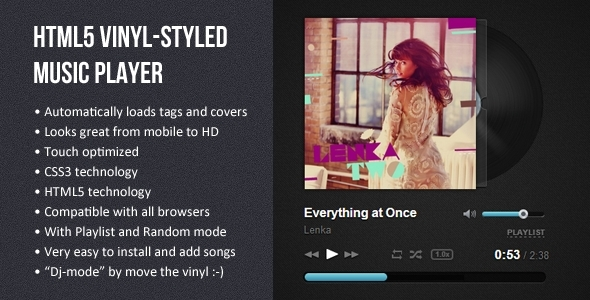 CodeCanyon HTML5 Vinyl-styled Music Player 5435457