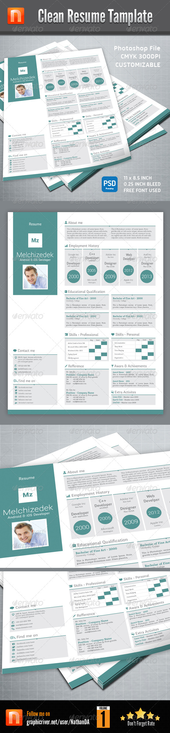 GraphicRiver Clean Resume Tamplate V1 5507067