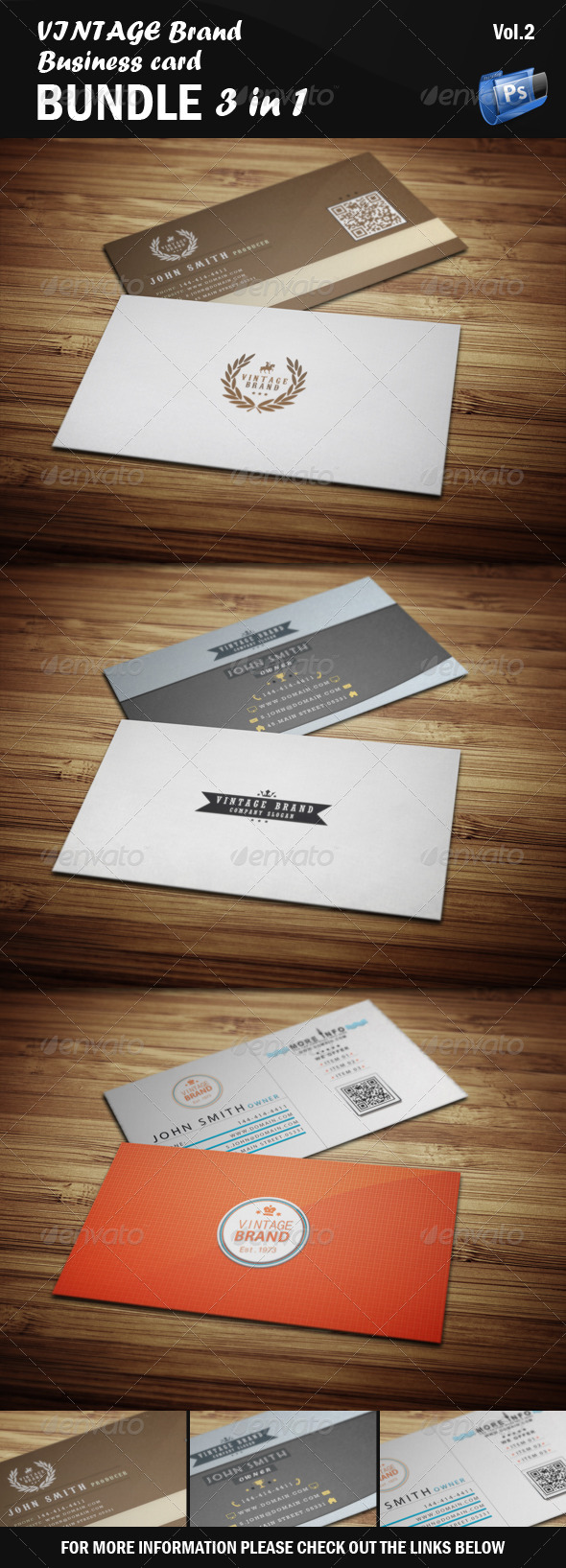 GraphicRiver Vintage Business Card Bundle 3 in 1 [Vol.2] 5507355