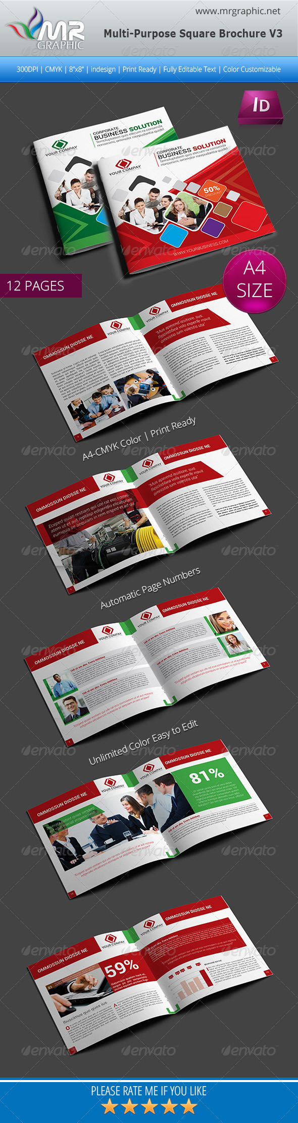 GraphicRiver Multipurpose Square Brochure Template Vol-03 5507606