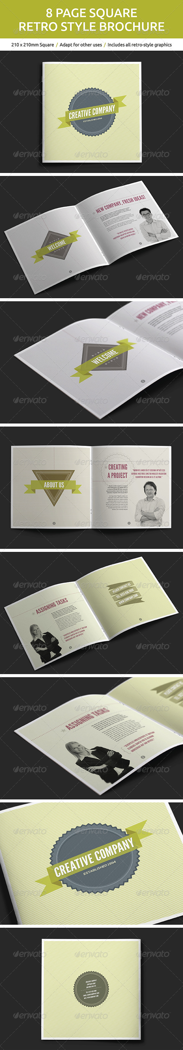 GraphicRiver 8 Page Square Retro Style Brochure 5507647