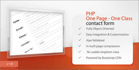 PHP One Page – One Class Contact form (Forms) Download