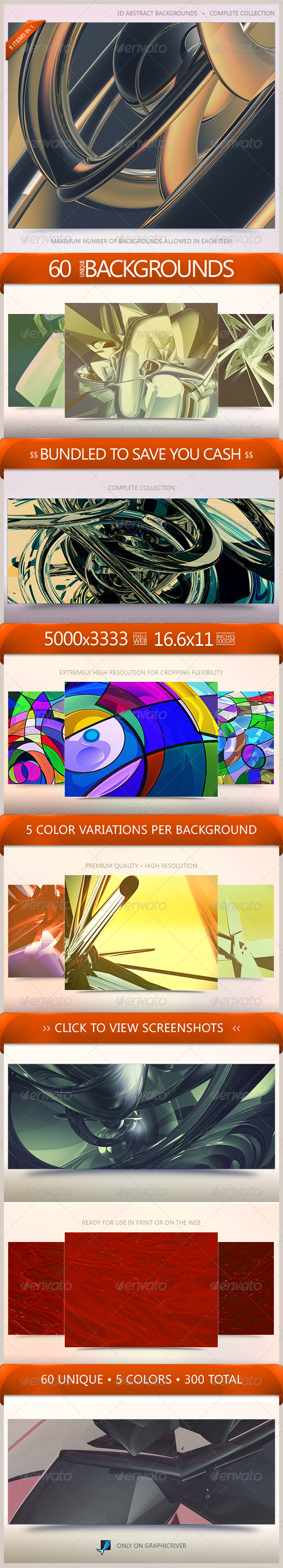 3D Abstract Backgrounds Bundle - 3D Backgrounds
