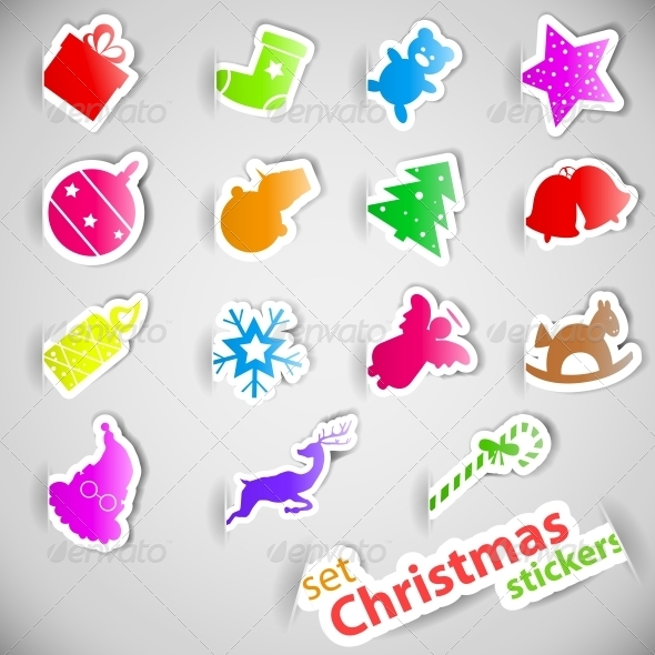 GraphicRiver Colourful Christmas Stickers Set 5510630