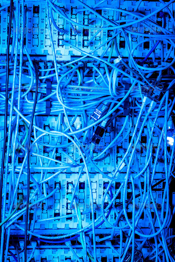 Concept of network infrastructure with cables