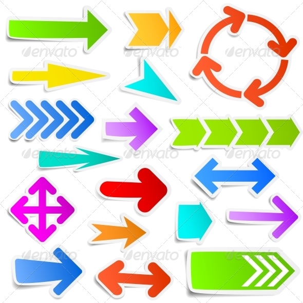 GraphicRiver Colourful Paper Arrow Stickers 5511557