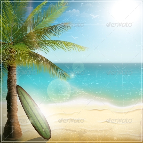 GraphicRiver Ocean Beach with Surf Board 5511691