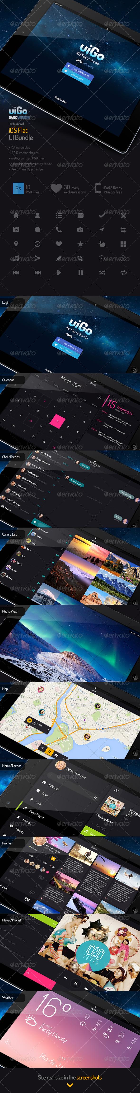 GraphicRiver uiGo Tabled Dark UI Bundle 5507833