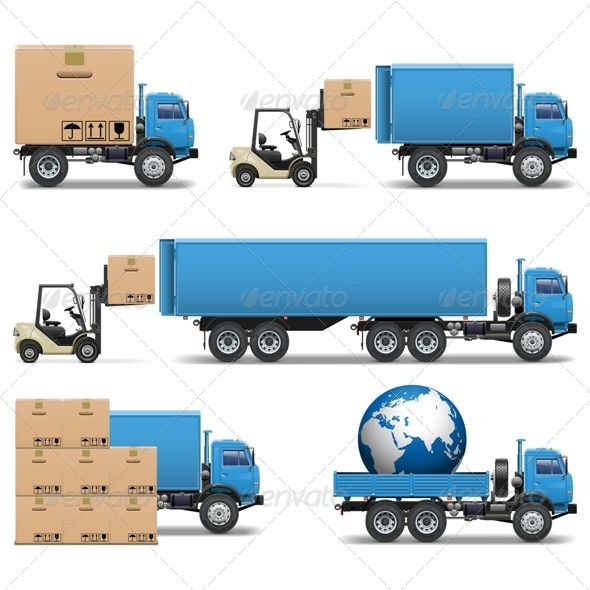 GraphicRiver Vector Shipment Trucks Icons Set 2 5513051