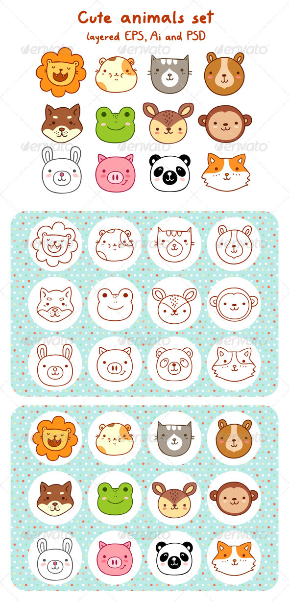 GraphicRiver Animal Faces Set 5513666