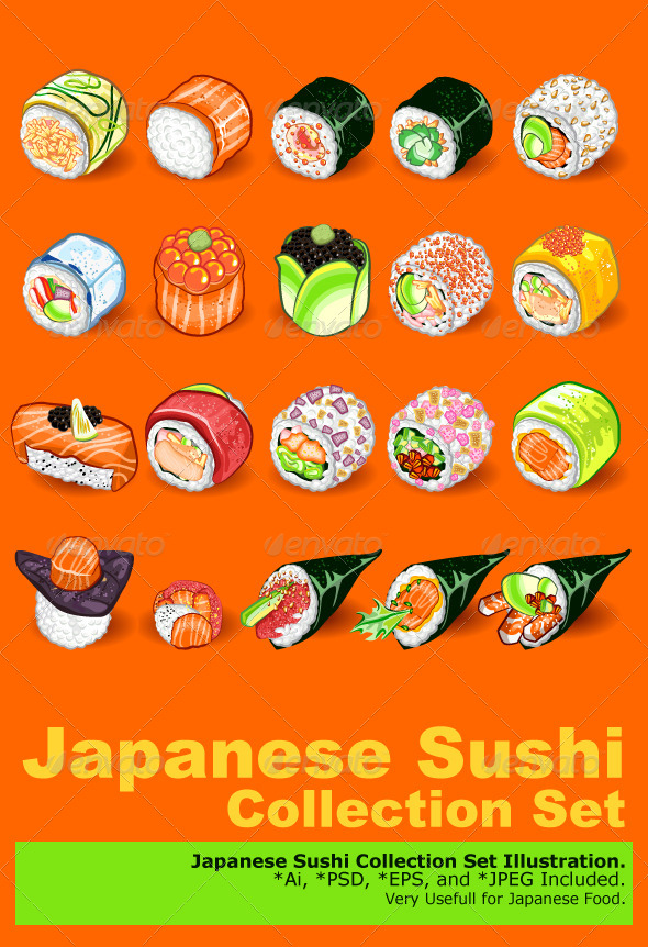 GraphicRiver Japanese Sushi Collection Set 5514336