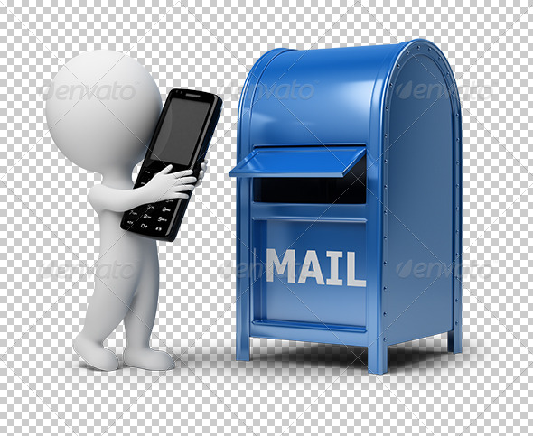GraphicRiver 3D small people mailing a phone 5514446