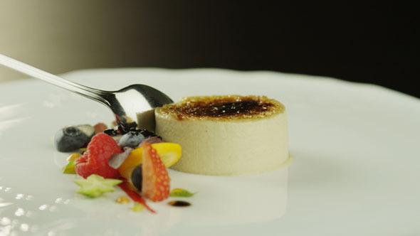 VideoHive Creme Brulee Dessert with Berries on White Plate 5514772