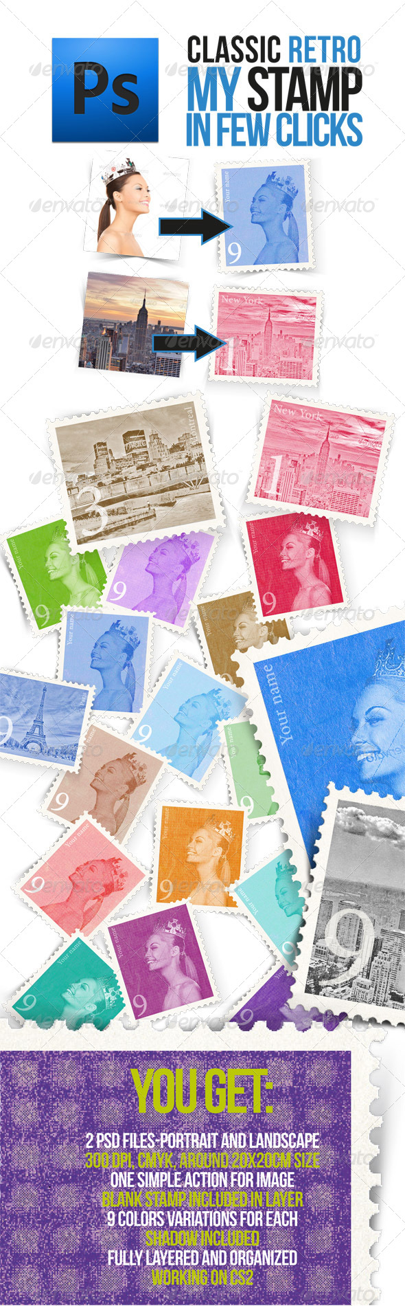 GraphicRiver Retro Postage Stamp Template 5515256