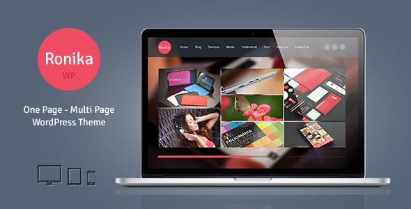 ThemeForest Ronika One Page Multi Page WordPress Theme 5489970