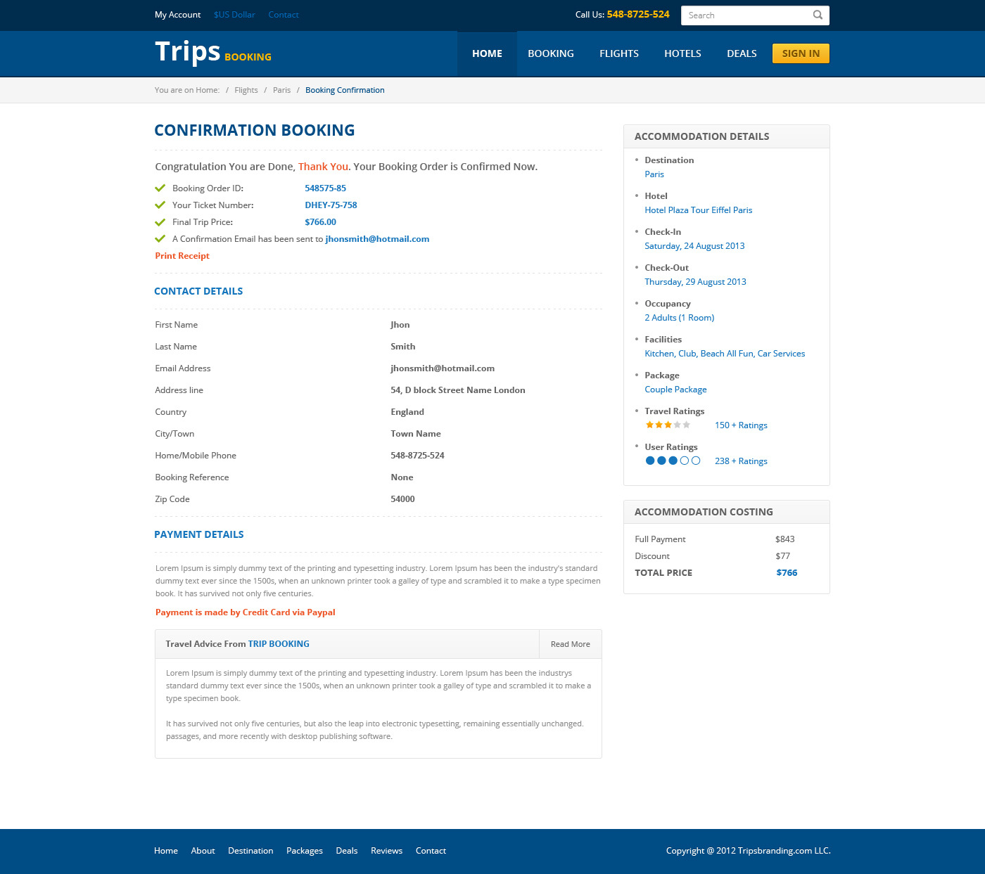Trips Booking HTML5 Template