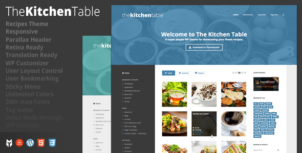 ThemeForest The Kitchen Table Responsive Recipes WP Theme 5516768
