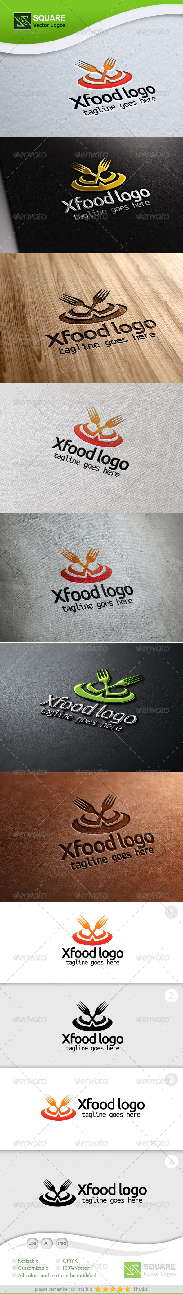 X, Fork Vector Logo Template - Food Logo Templates