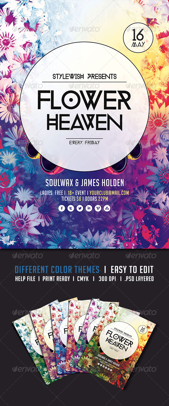 Flower Heaven Flyer - Clubs & Parties Events
