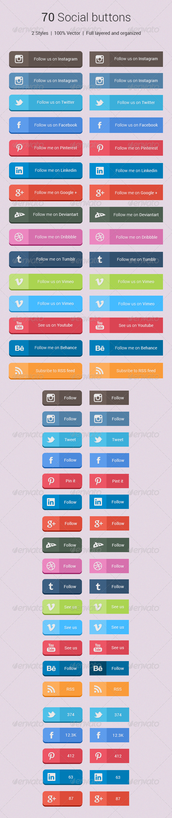 70 Social Buttons - Buttons Web Elements