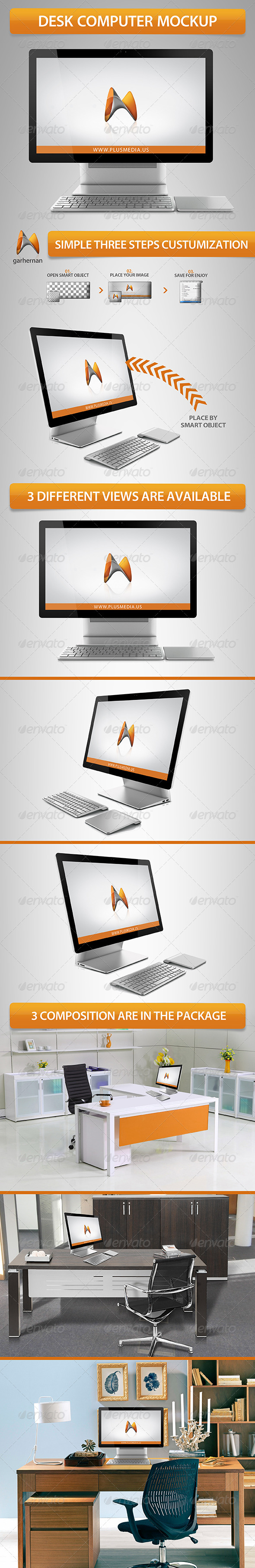 GraphicRiver Desk Computer Mockup 5518241