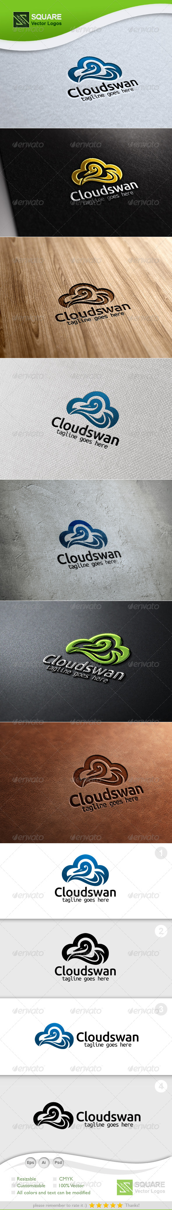 Cloud, Swan Vector Logo Template - Animals Logo Templates