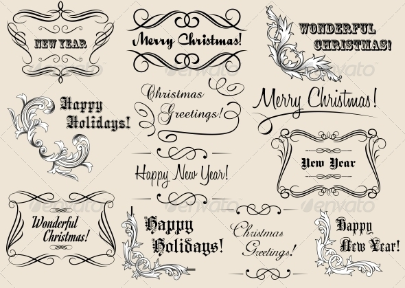 GraphicRiver Christmas and New Year Calligraphic Headlines 5520635