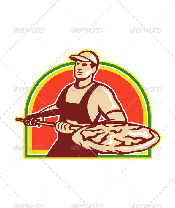 GraphicRiver Baker Holding Peel with Pizza Pie Retro 5521098