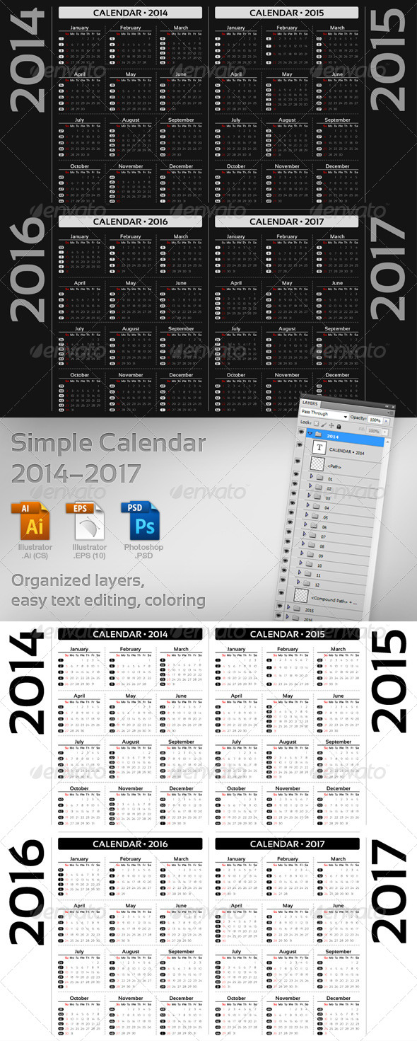 GraphicRiver Simple Calendar 2014-2017 5522679