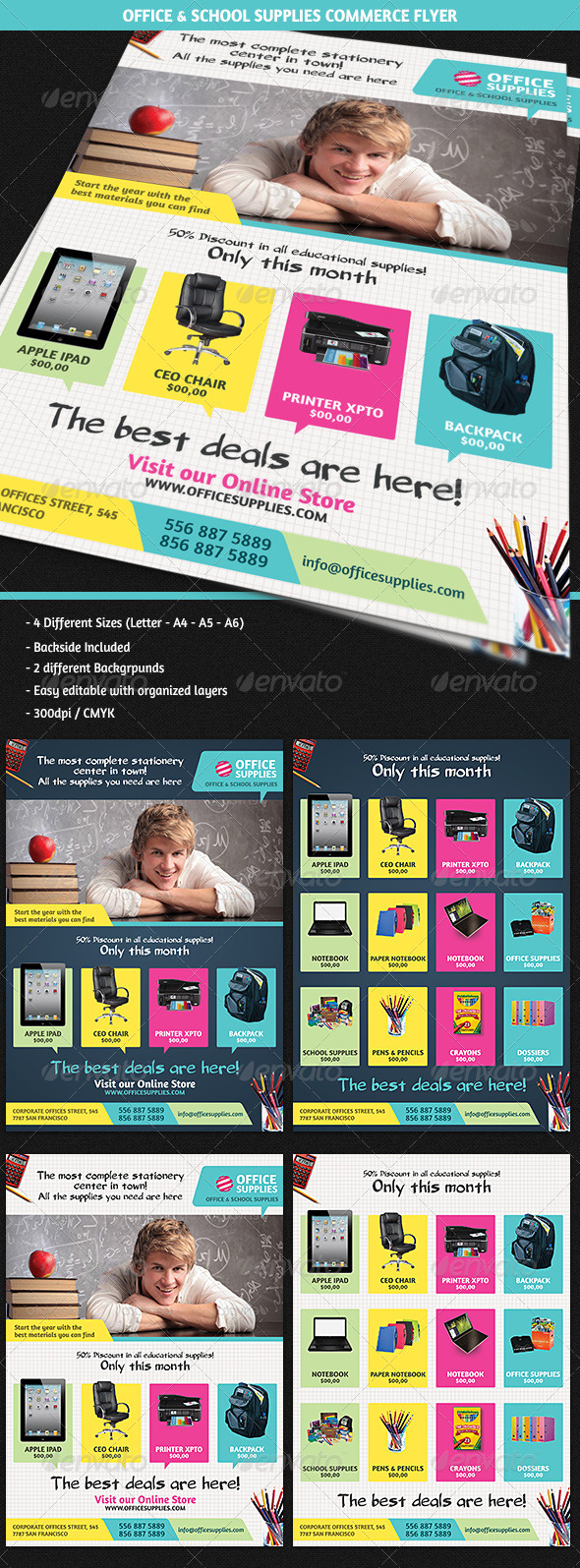 GraphicRiver Office & School Supplies Commerce Flyer 5523023