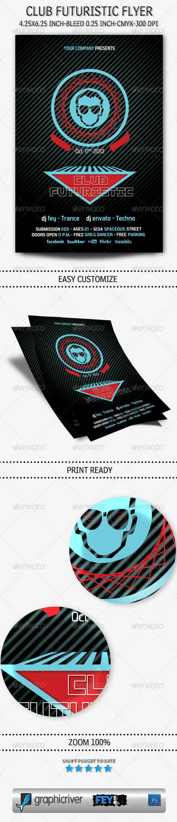GraphicRiver Club Futuristic Flyer 5523265