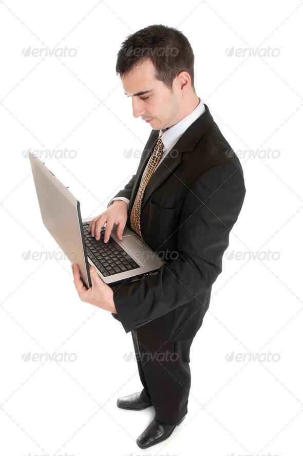 Business man with laptop - Stock Photo - Images