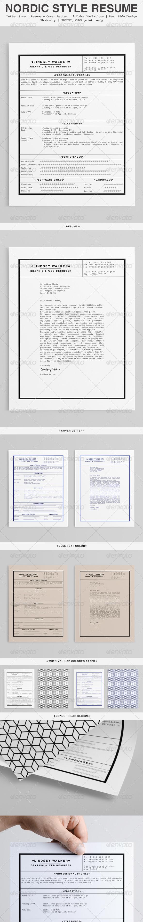 GraphicRiver Nordic Style Minimalist Resume 5524283