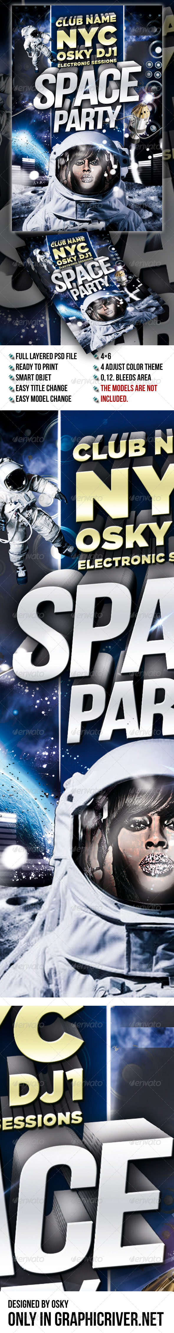 GraphicRiver Space Party Flyer 5482739