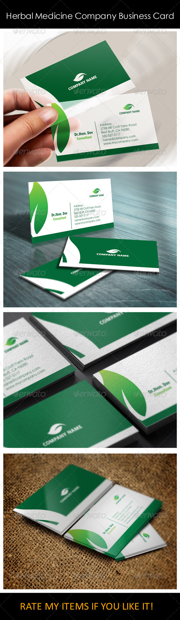 GraphicRiver Herbal Medicine Company Business Card Templates 5382020