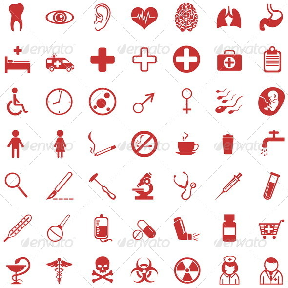 GraphicRiver Vector Set of 49 Red Medical Icons 5527445